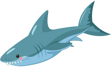 Illustration of cute shark. Çizim