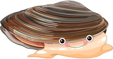 Illustration of cute mussel 일러스트