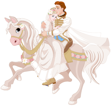 Illustration of princess and prince riding a horse after wedding.