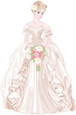 Illustration of beautiful princess holds bouquet