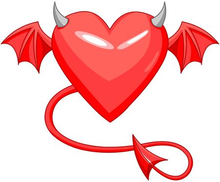 Devil love horned heart shape  Illustration