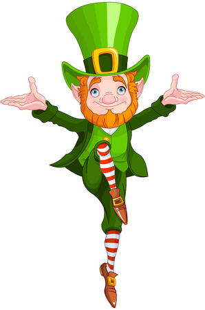 Illustration of a leprechaun dancing a jig