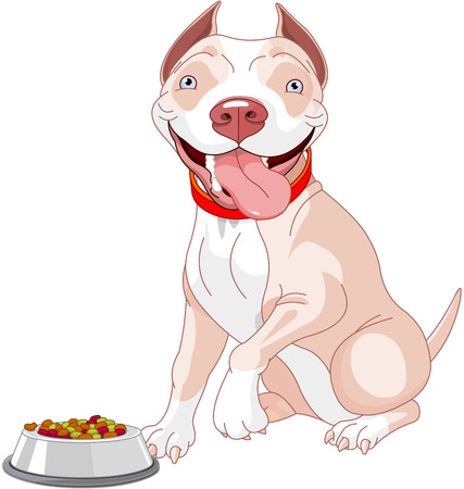 Illustration of cute Pit-bull dog about to eat a bowl of dog food