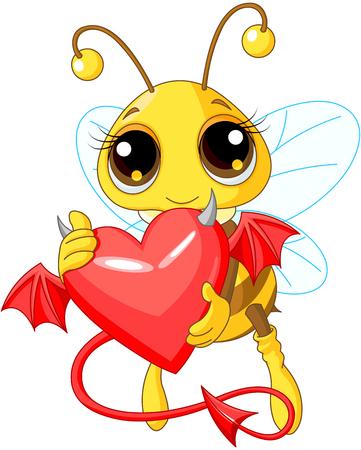 A cartoon illustration of a Cute Bee holding a Devil Heart Illustration