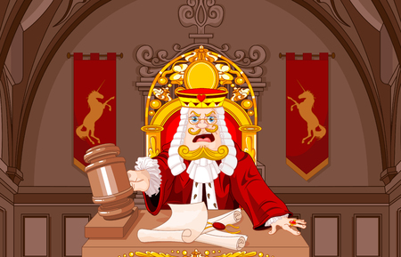 Cartoon vector illustration of King of Hearts judge with gavel makes verdict for law.