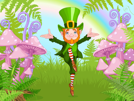 Lucky Dancing Leprechaun on a mushroom garden, cartoon vector illustration for St. Patricks day celebration 일러스트