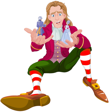 Gulliver holds Lilliputians in his hands, isolated cartoon vector illustration.