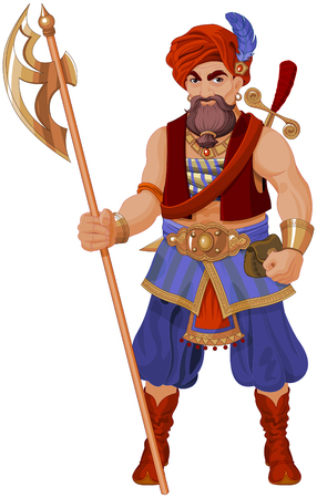 Illustration of guardsman with halberd