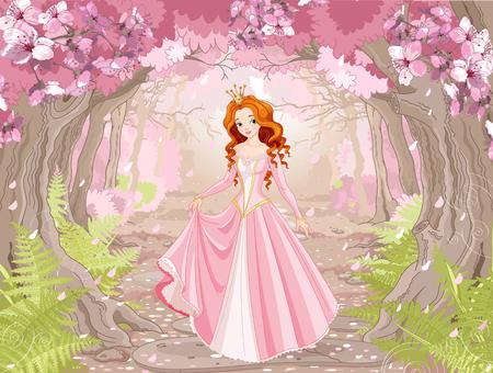 Illustratie van mooie rode haired prinses op de lente bosachtergrond