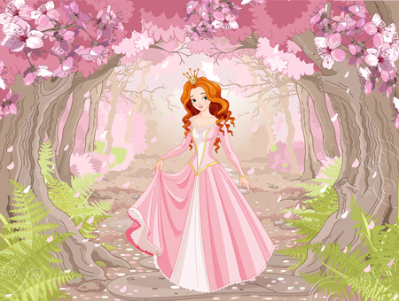 Illustration of beautiful red haired princess on spring forest background
