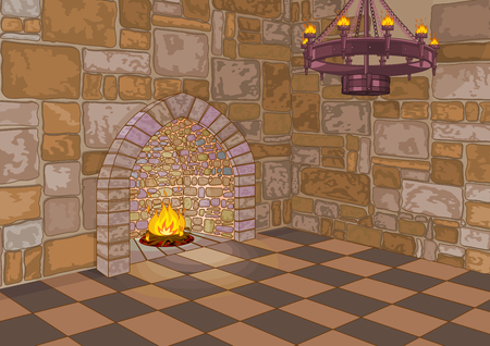 Illustration of medieval castle hall and fireplace Banque d'images - 103599478