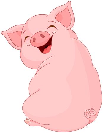 Illustration of cute pretty pig