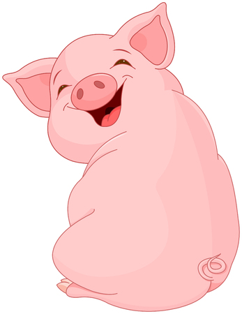 Illustration of cute pretty pig