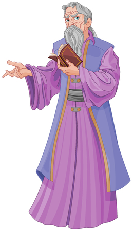 Vector illustration of Wise wizard with book. 일러스트