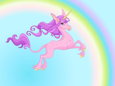 Vector illustration of cute magic unicorn. 일러스트