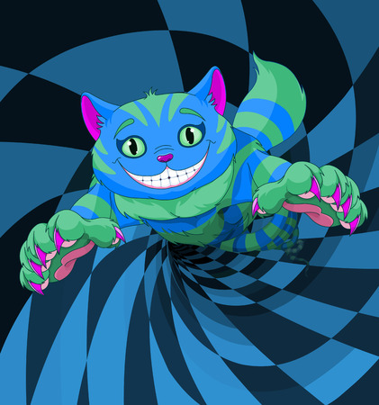 Cheshire cat jumping to the wonderland rabbit hole.