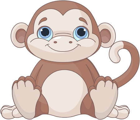 Illustration of cute baby monkey