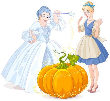 Feeënmoeder die magische pompoenkoets maakt