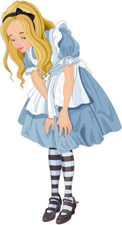 Illustration of Alice from Wonderland looks down Иллюстрация