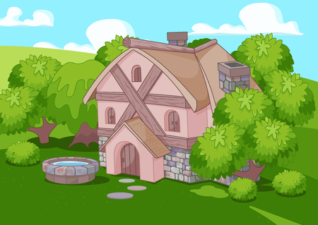 Illustration of cute little house on green landscape