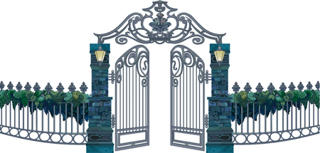 Illustration of the gates with the gate doors open