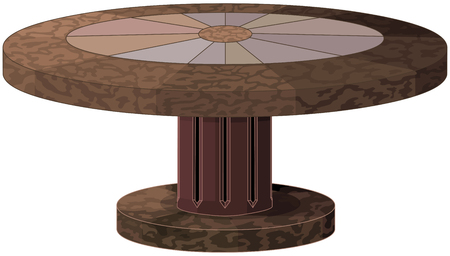 Illustration of round antic table