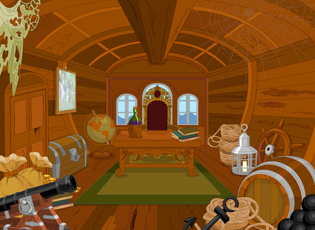Illustration of Pirate Cabin Иллюстрация