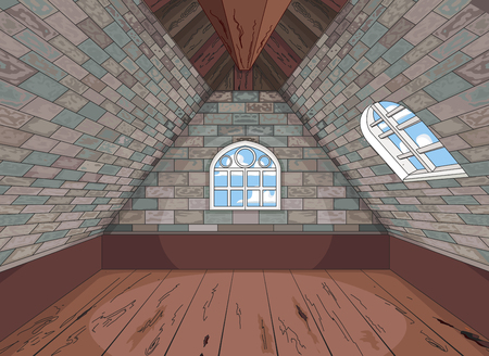 Illustration of a medieval attic Иллюстрация