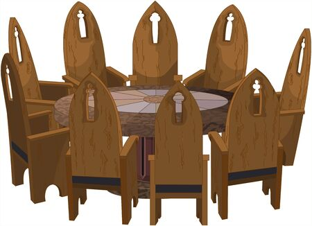 Illustration of nine Church chairs around round antic table