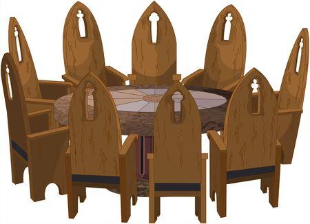 Illustrazione di nove sedie da chiesa intorno a un tavolo antico rotondo