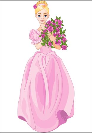 Illustration of beautiful princess holds bouquet