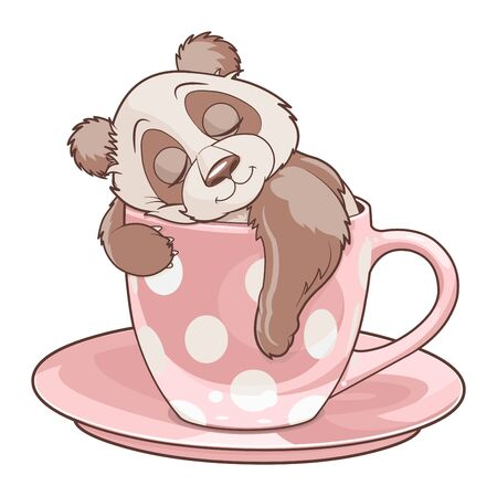 Illustration of panda sleeping in teacup Иллюстрация