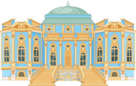 Illustration of blue rococo palace  Иллюстрация