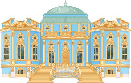 Illustration of blue rococo palace Vektoros illusztráció