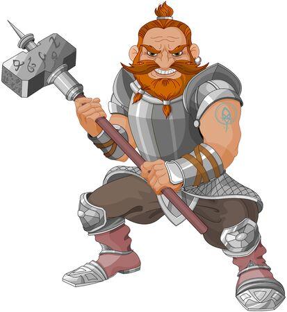 Fantasy-Zwerg mit Hammer Vektorgrafik