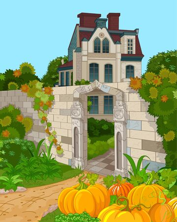 Illustration of Victorian house façade and pumpkins Иллюстрация