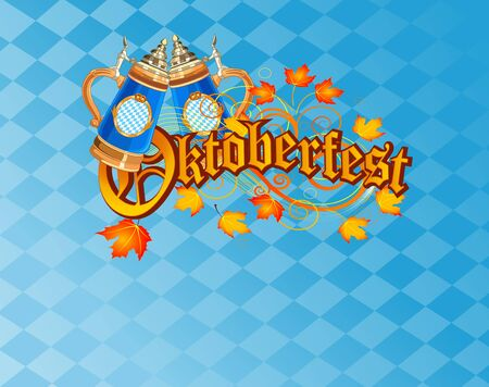 Oktoberfest Celebration Background with Beer and Pretzel