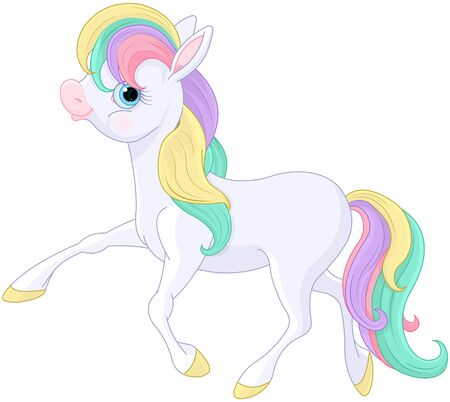 Illustration of magic Rainbow Pony walking