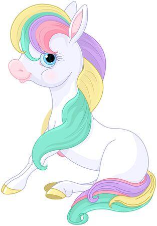 Illustration of magic Rainbow Pony standing Stock Vector - 134277685