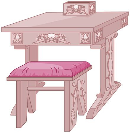 Princess Student Desk and Chair Иллюстрация