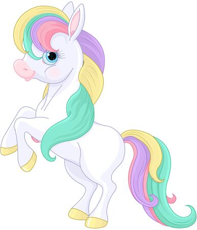 Illustration of magic Rainbow Pony rearing up