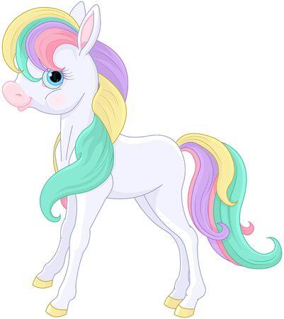 Illustration of magic Rainbow Pony sitting Vetores