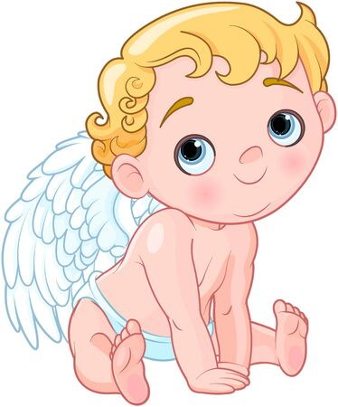 Illustration of baby cupid sitting Иллюстрация