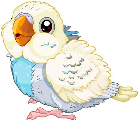 Illustration of cute baby parakeet Иллюстрация