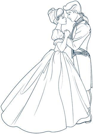 Pagina da colorare del ballo reale di Cenerentola e Principe