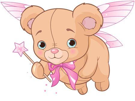 Flying cute teddy bear with magic wand Archivio Fotografico - 138430363