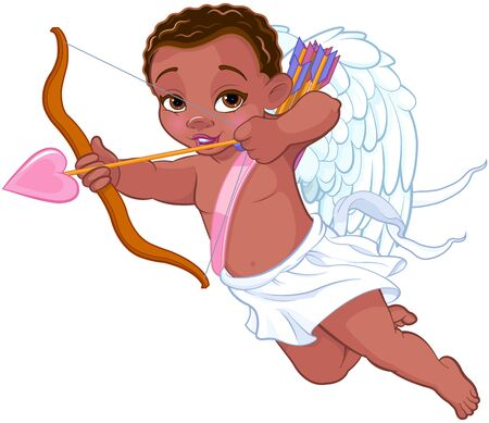 Illustration of cute angel shooting