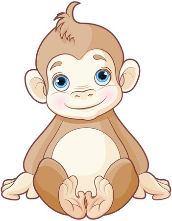 Illustration of cute baby monkey  Иллюстрация