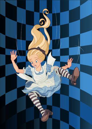 Alice valt in het konijnenhol Vector Illustratie