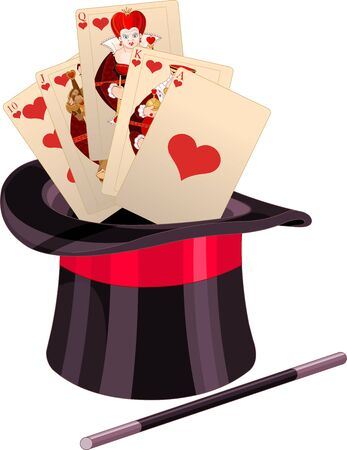 Illustration of play card in top hat magic trick